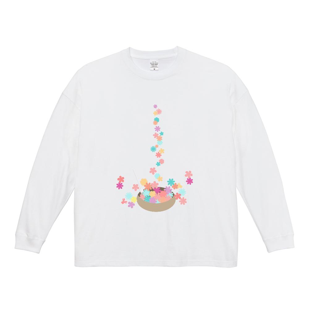 カラフルな小花をお皿に盛ったイラスト ビッグシルエットロングスリーブTシャツ