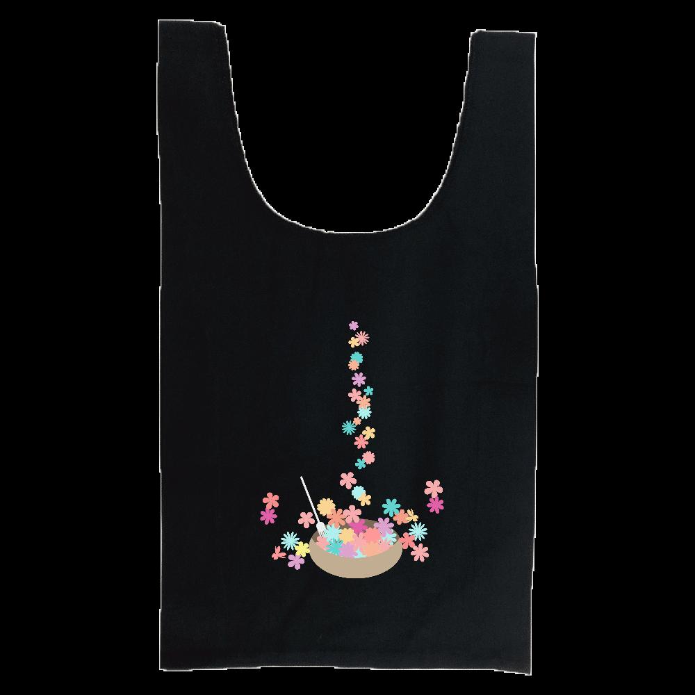 カラフルな小花をお皿に盛ったイラスト 厚手コットンマルシェバッグ(M)