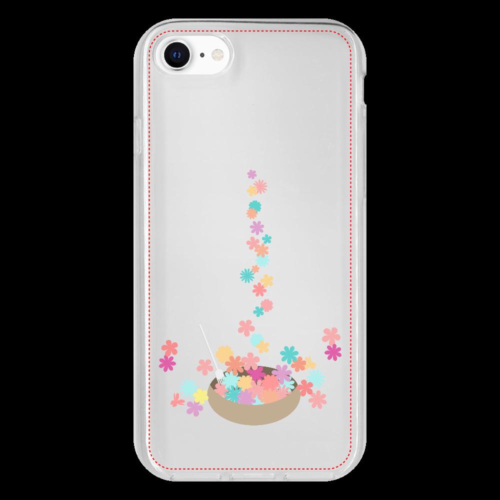 カラフルな小花をお皿に盛ったイラスト iPhone 8 抗菌ソフトケース