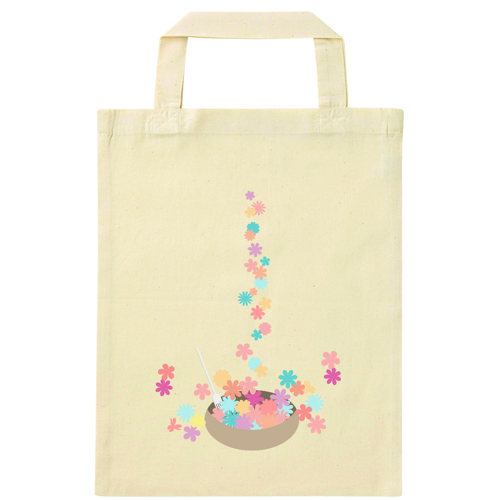 カラフルな小花をお皿に盛ったイラスト ナチュラルファイルバッグ