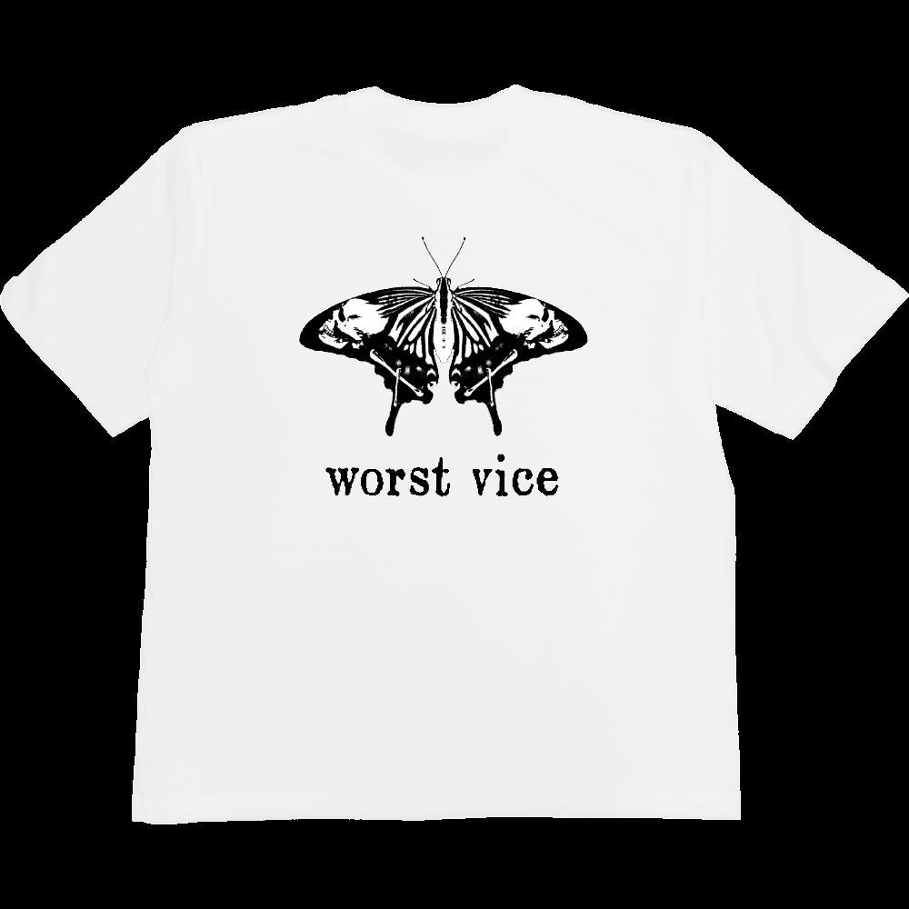 butterfly skull 2nd white 5.6オンスヘビーウェイトビッグTシャツ