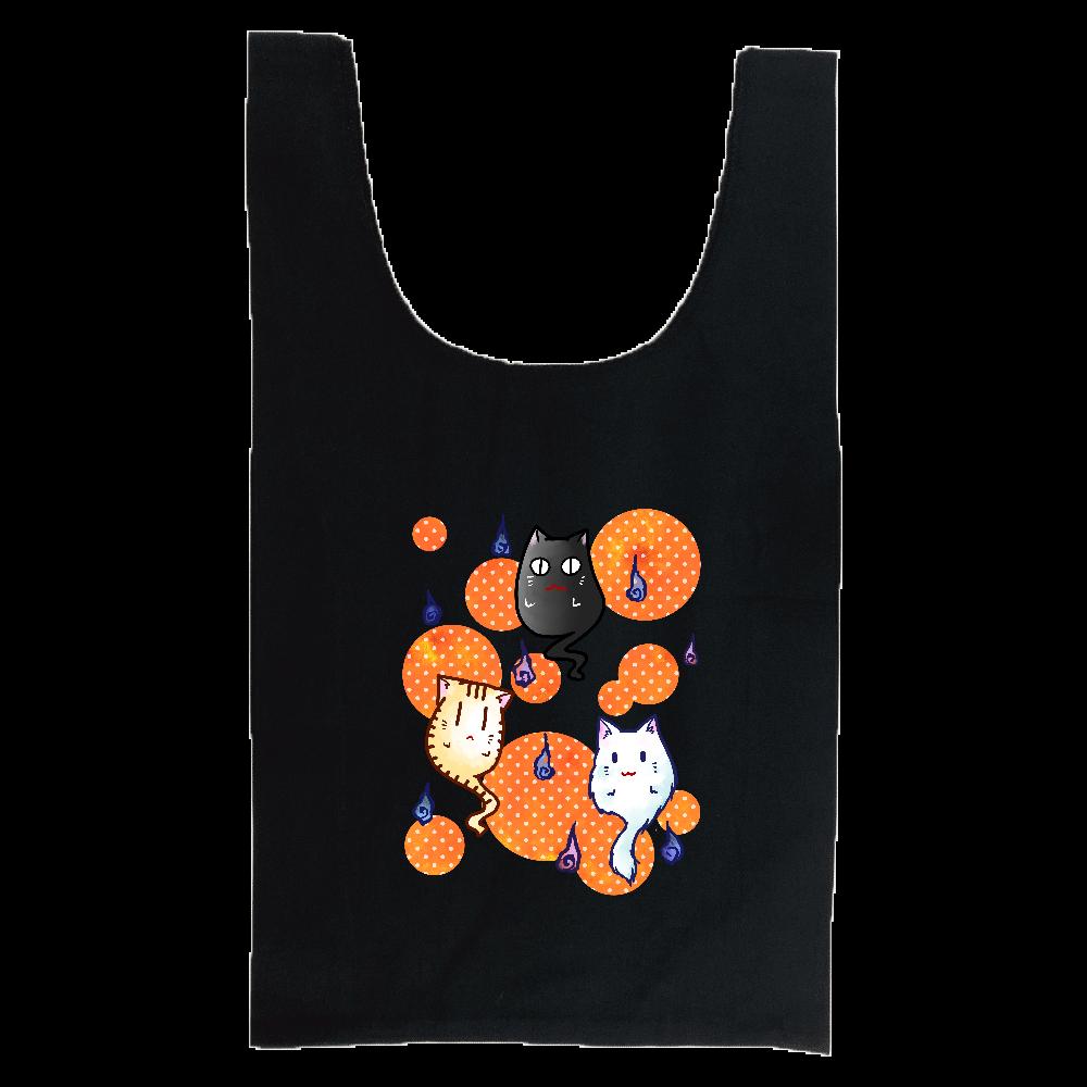 ねこゆうれいオレンジ縦 厚手コットンマルシェバッグ(M)