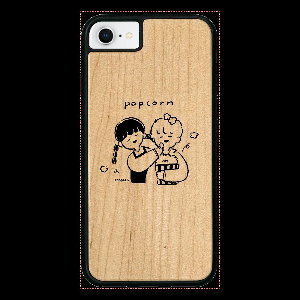 ポップコーン スマホケース iPhone7 ウッドケース