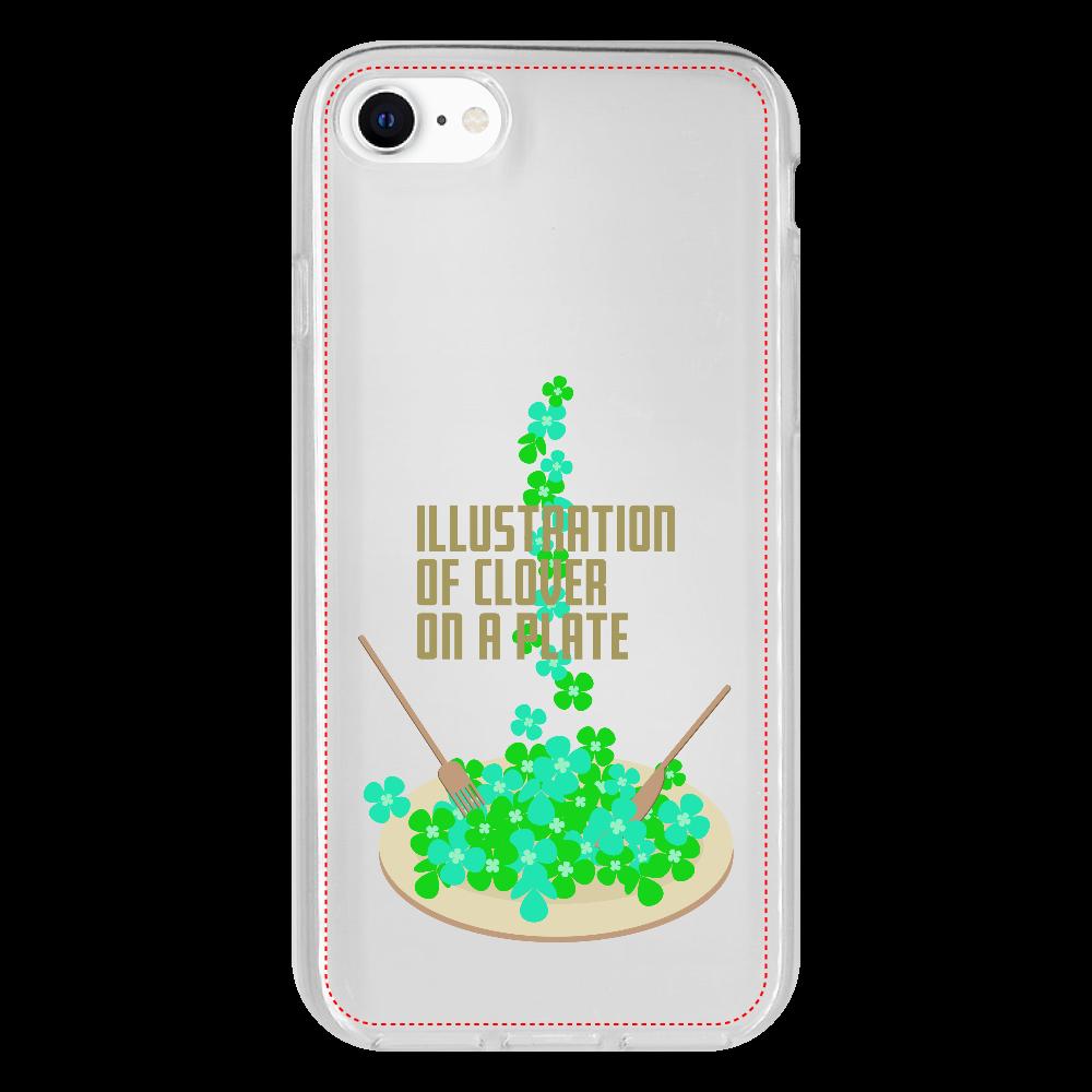 クローバーとお皿 iPhone SE2 抗菌ソフトケース