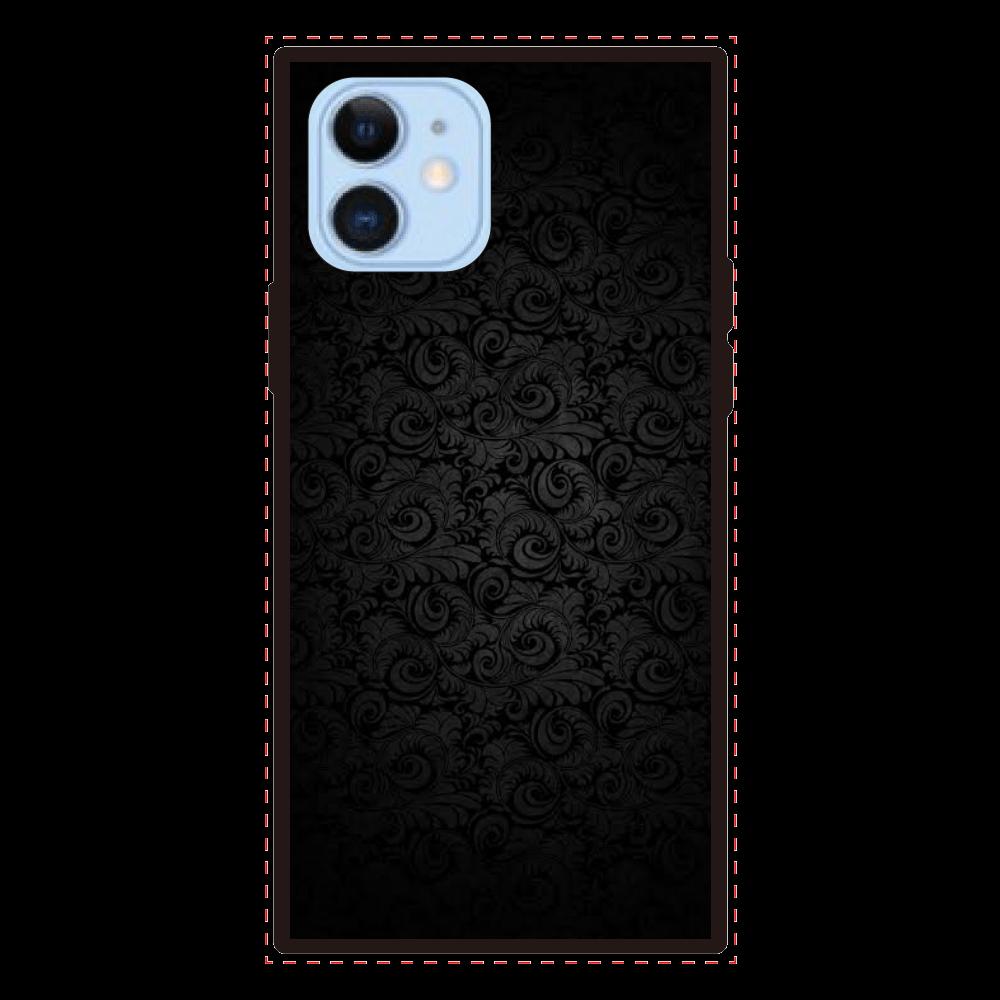 ブラック iPhone12/12proスクエアカバー iPhone12/12pro 背面強化ガラス(スクエア)