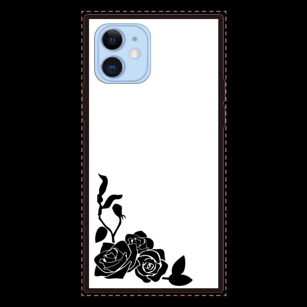 白黒 薔薇(バラ) iPhone12/12proスクエアカバー iPhone12/12pro 背面強化ガラス(スクエア)
