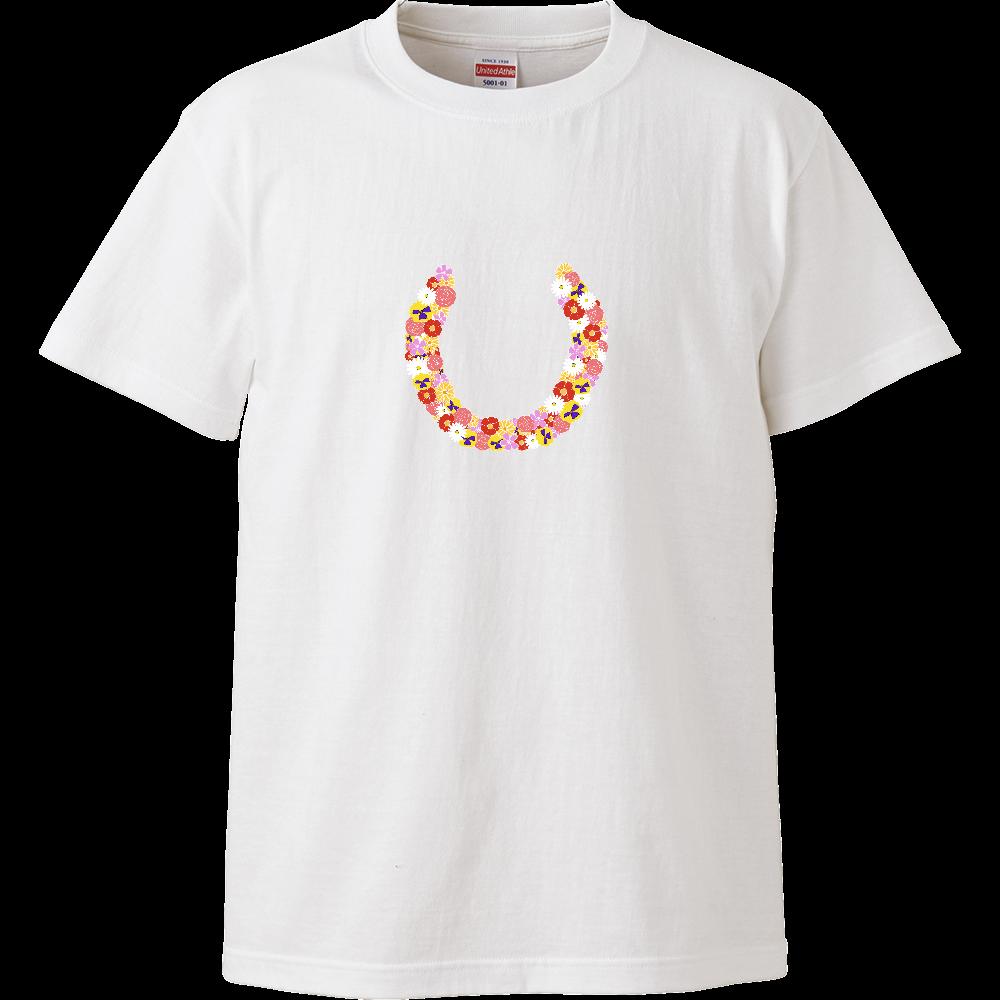蹄鉄フラワー ハイクオリティーTシャツ