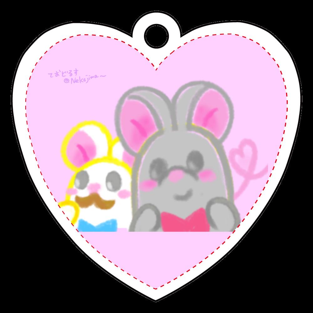 ねずみのテオとワトソン❁アクリルキーホルダー♡(ピンク) アクリルキーホルダー ハート形 (6cm)