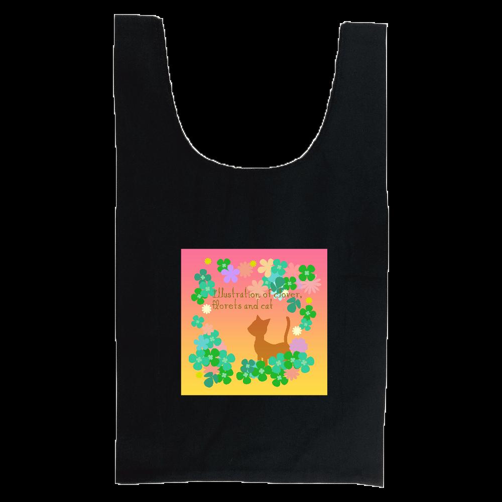 クローバーと小花と猫のイラスト 厚手コットンマルシェバッグ(M)