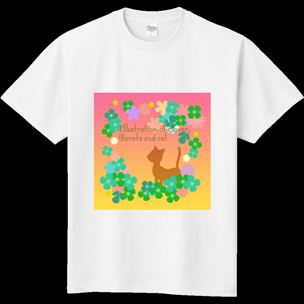 クローバーと小花と猫のイラスト 定番Tシャツ
