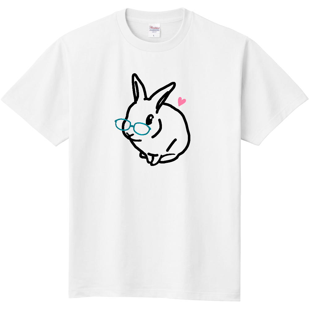 うさぎのモック シンプルめがね 定番Tシャツ