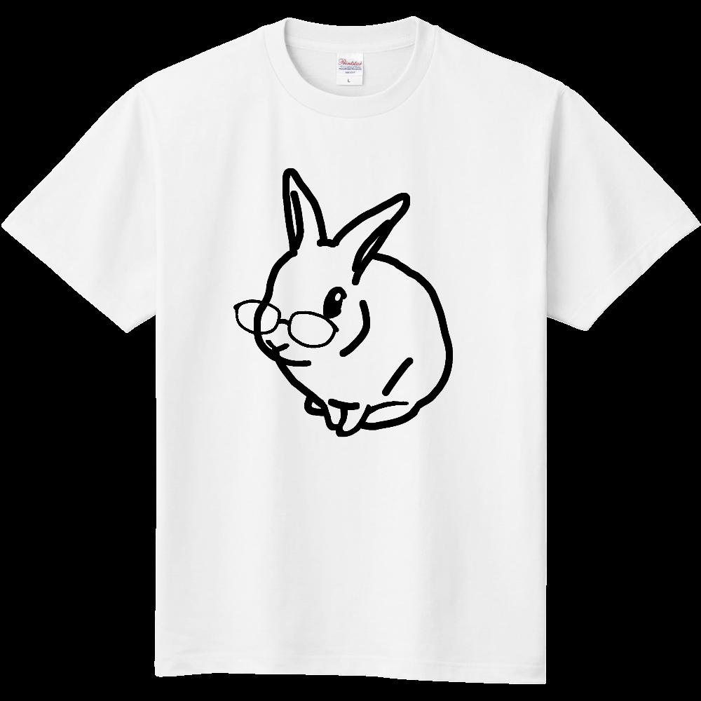 うさぎのモック シンプルめがね黒 定番Tシャツ