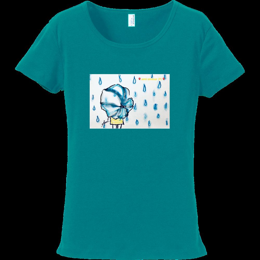 「雨傘と黄色いワンピース」 フライスTシャツ