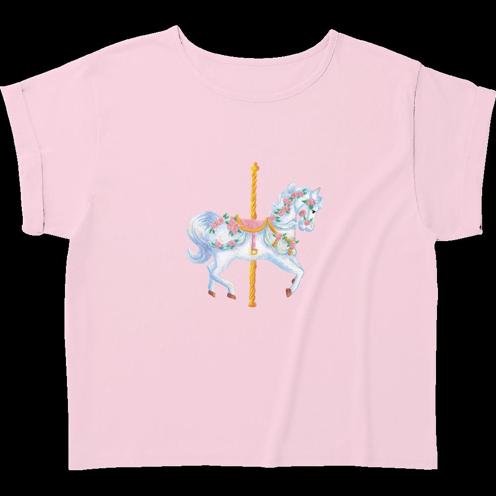 メリーゴーランド01 ウィメンズ ロールアップ Tシャツ