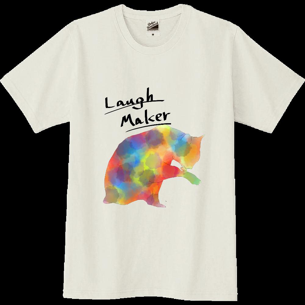 ねこプリントシャツ 白系/黒文字 スリムTシャツ
