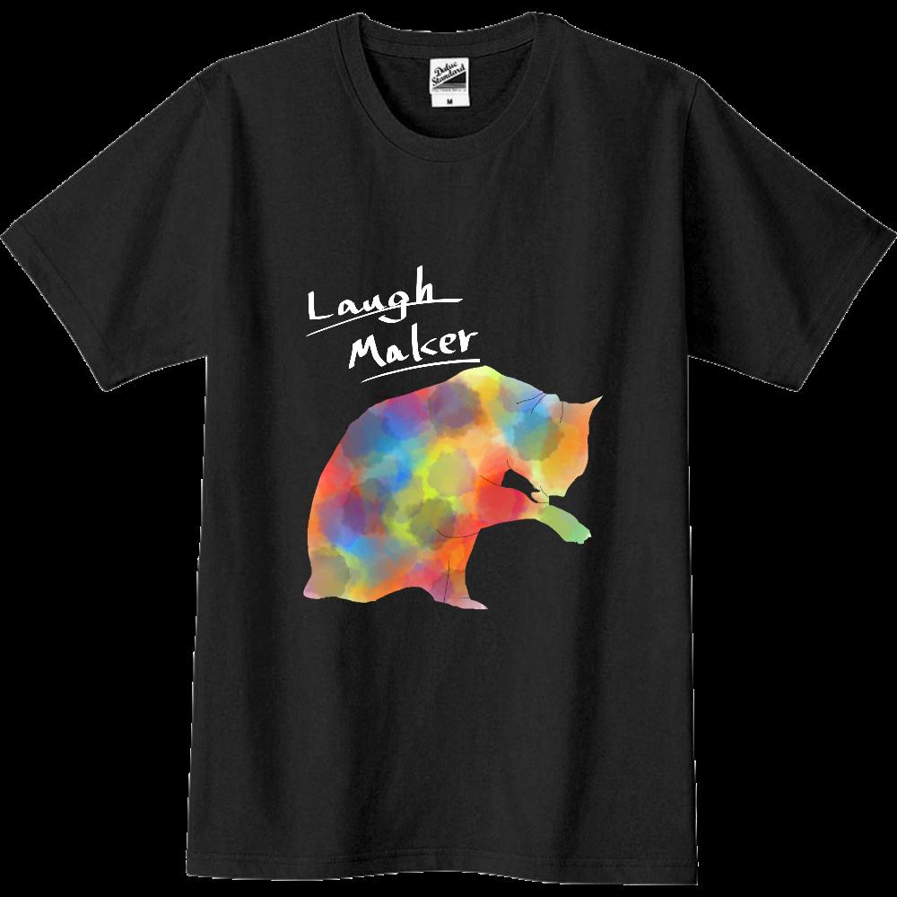 ねこプリントシャツ 黒系/白文字 スリムTシャツ