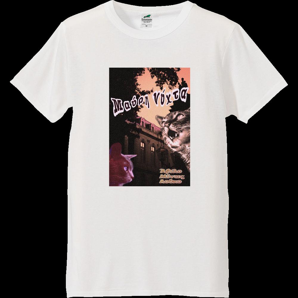 ヴィンテージホラーキャット バニラホワイトTシャツ ライトトライブレンドTシャツ