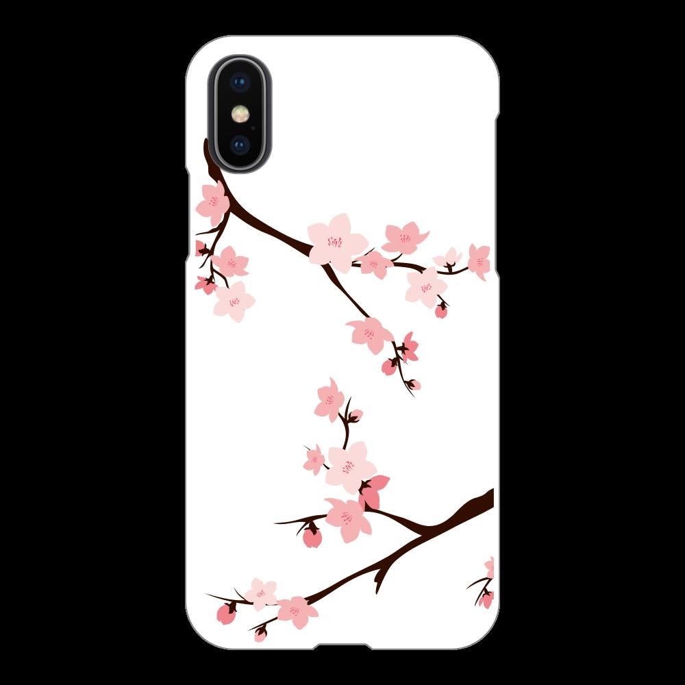 iPhone X/XR ケース 桜 iPhoneX/Xs(白)
