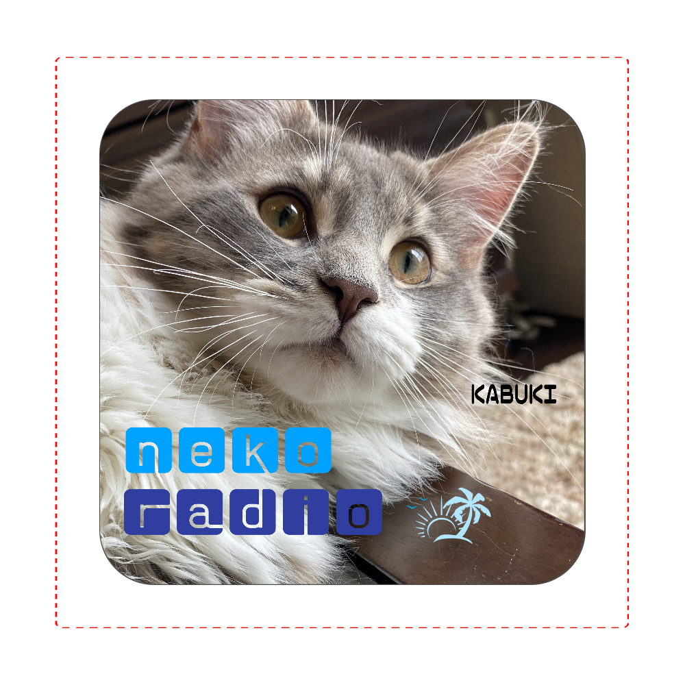 (☆猫ラジ応援グッズ☆)歌舞伎の猫ラジタオル♪ 全面プリントハンカチタオル