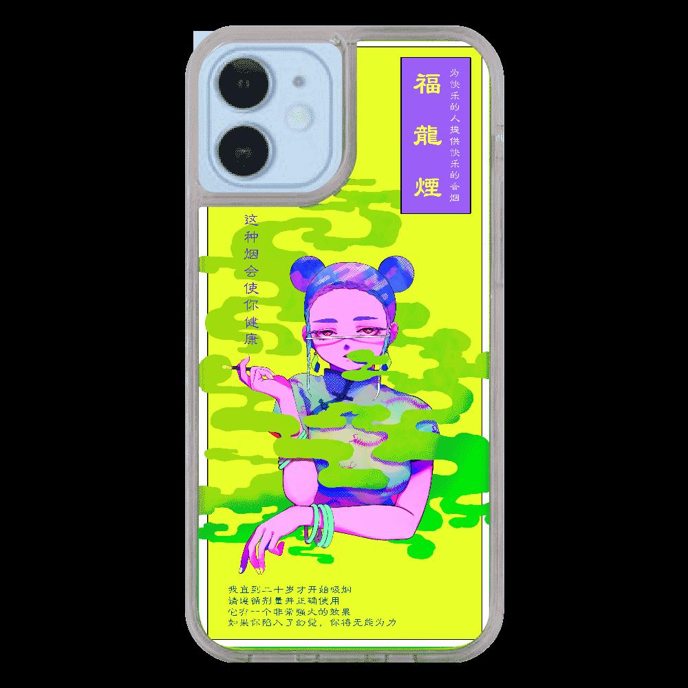 福龍煙パッケージiPhoneケース(12/12pro)_緑×黄 iPhone12/12pro ネオンサンドケース