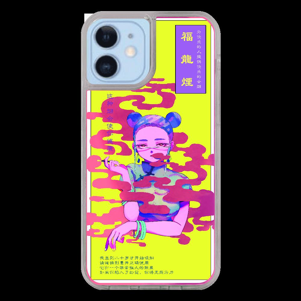 福龍煙パッケージiPhoneケース(12/12pro)_ピンク×紫 iPhone12/12pro ネオンサンドケース