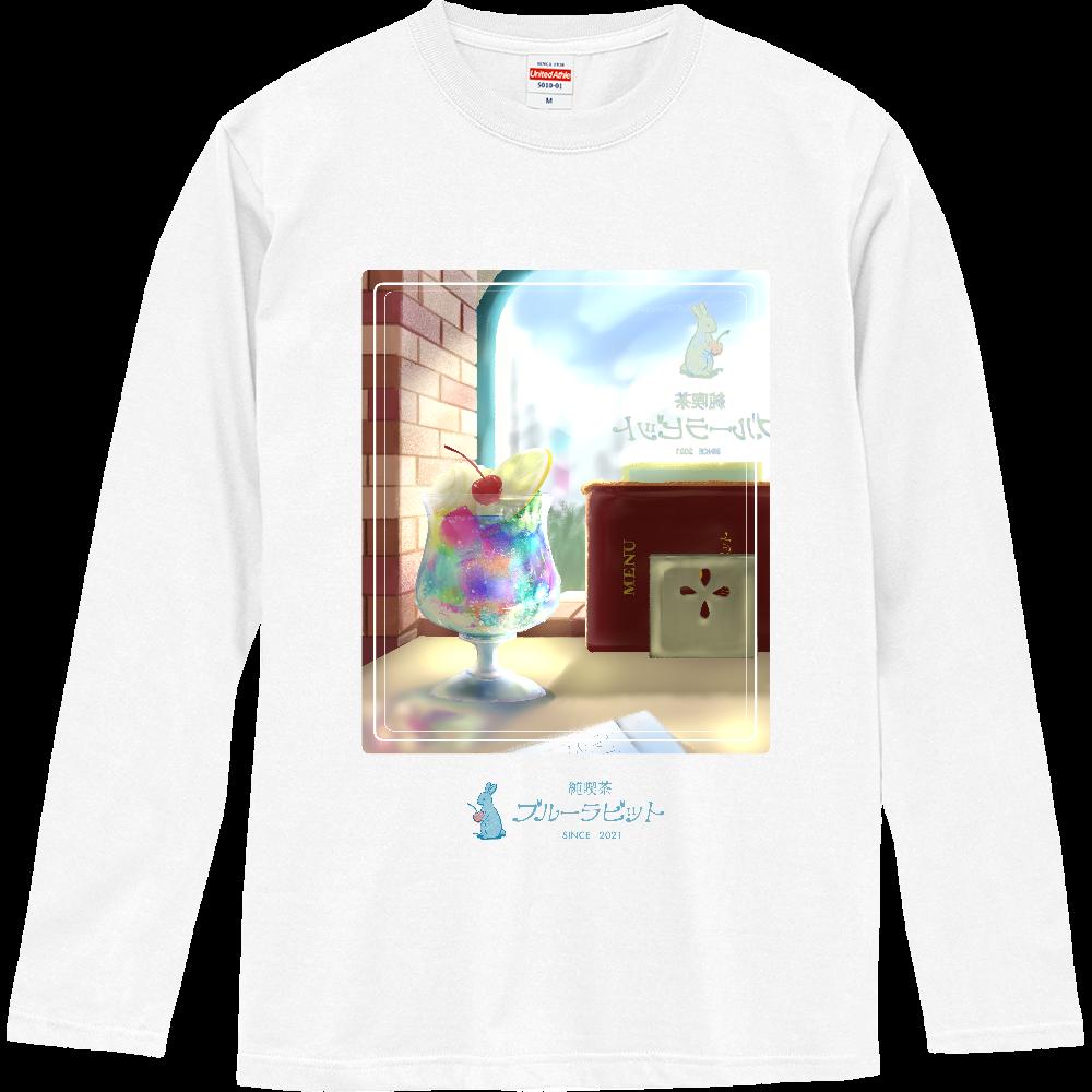 純喫茶ブルーラビット 窓辺の風景(ライン) 長袖Tシャツ ロングスリーブTシャツ