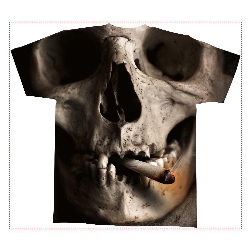 おもしろTシャツ 全面T スカル メンズ レディース かっこいい オシャレ 全面インクジェットTシャツ(M)