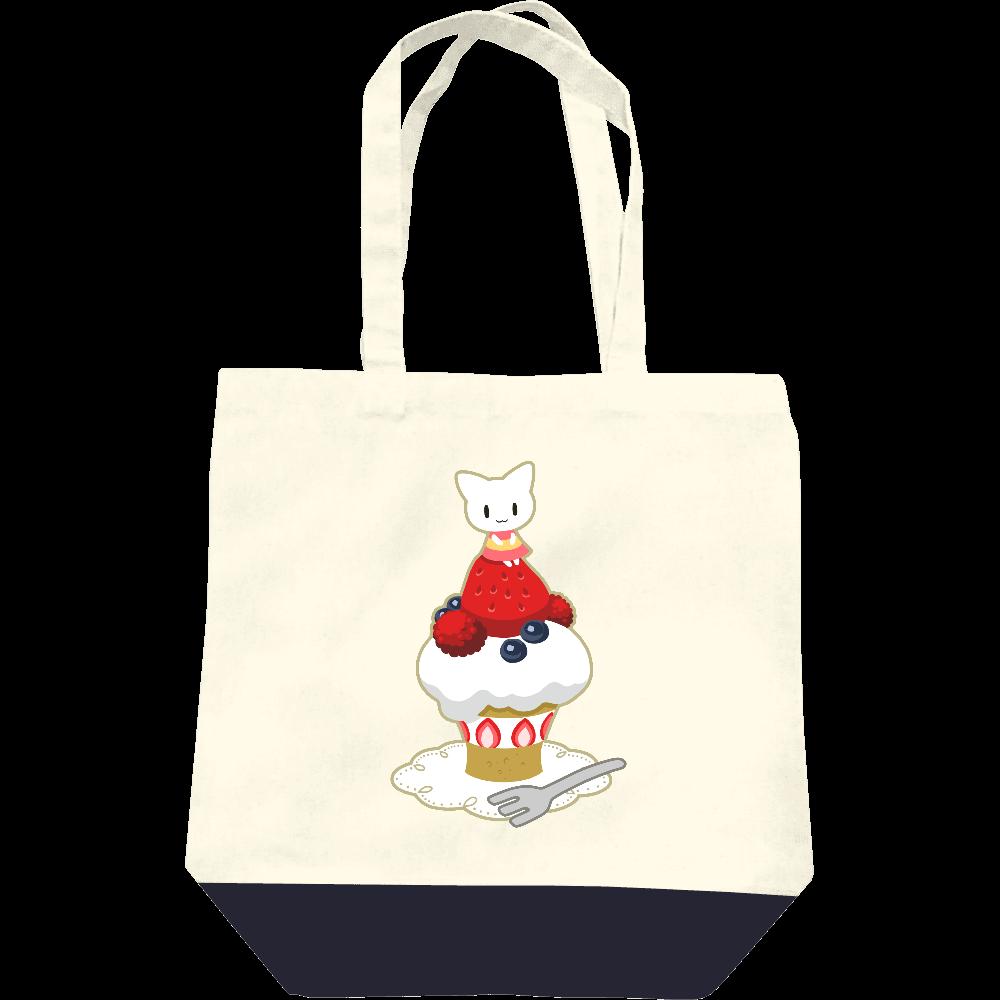 白猫と苺ケーキトートバッグ レギュラーキャンバストートバッグ(M)