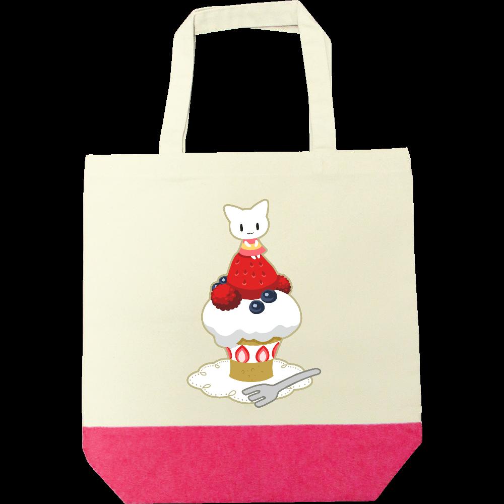 猫と苺ケーキトートバック キャンバスツートントートバッグ(M)