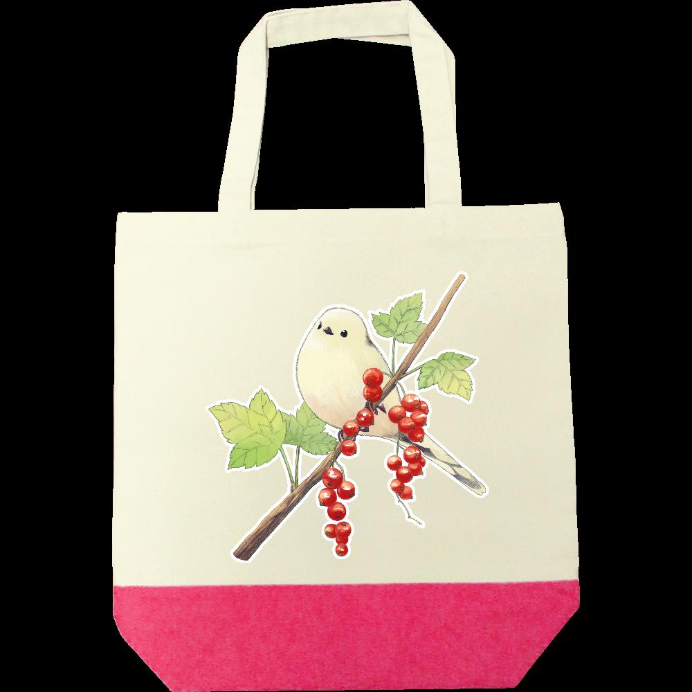 シマエナガと赤い実トートバック キャンバスツートントートバッグ(M)