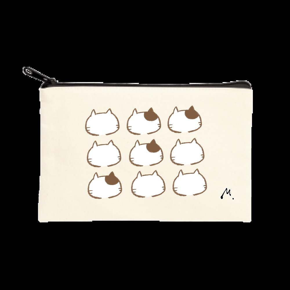 猫の整列 ポーチ(S)