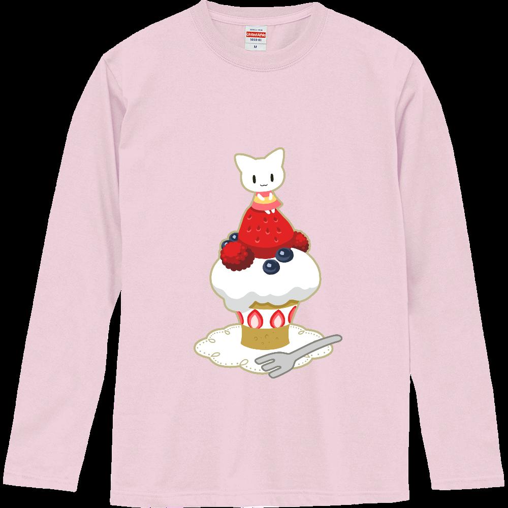 猫と苺ケーキ長袖Tシャツ ロングスリーブTシャツ