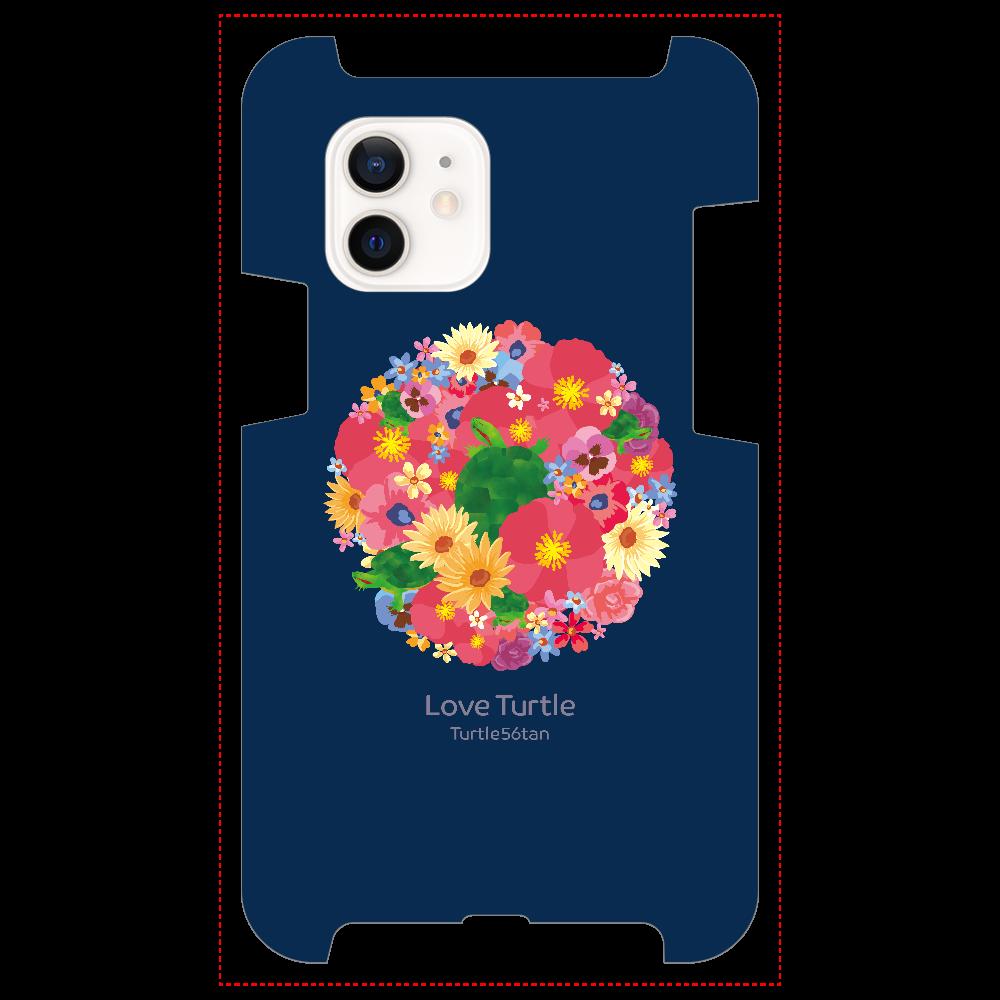 Love Turtle Flower Circle ネイビー iPhone12 / 12 Pro
