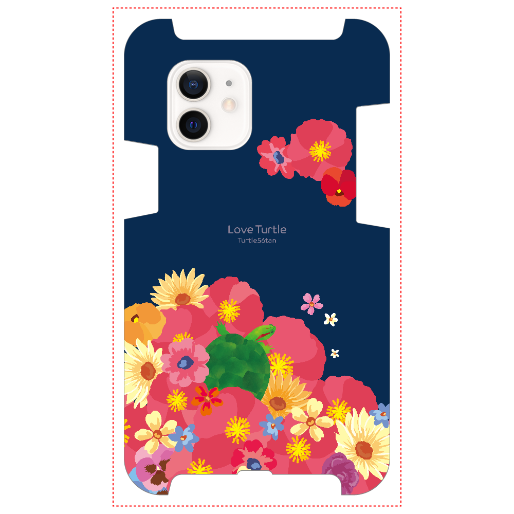 Love Turtle Flower Art ネイビー iPhone12 / 12 Pro