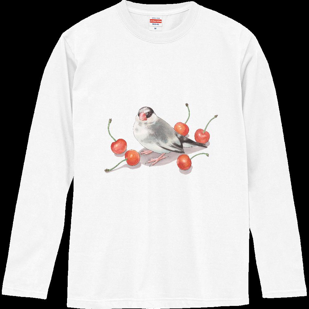 桜文鳥とサクランボの長袖Tシャツ ロングスリーブTシャツ