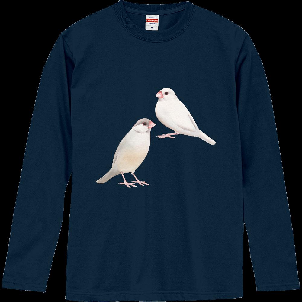 文鳥の長袖Tシャツ ロングスリーブTシャツ