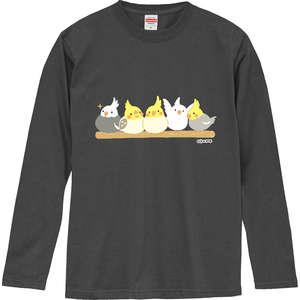 オカメインコの長袖Tシャツ ロングスリーブTシャツ