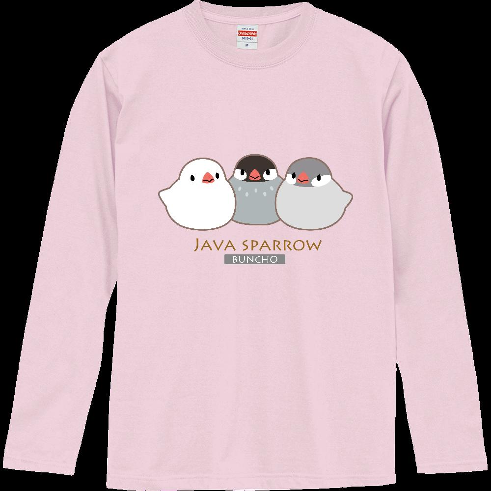 文鳥の長袖Tシャツ(枠あり) ロングスリーブTシャツ