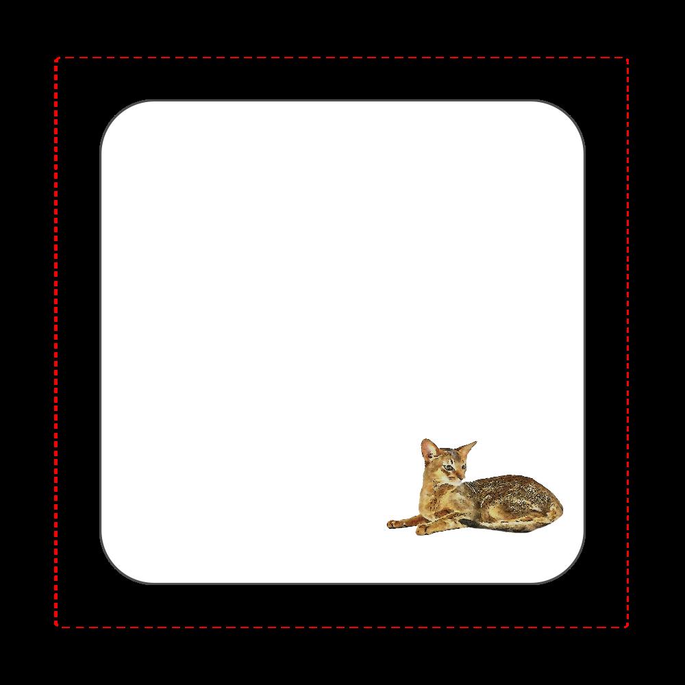 アビシニアン猫のタオルハンカチ ホワイト 全面プリントハンカチタオル