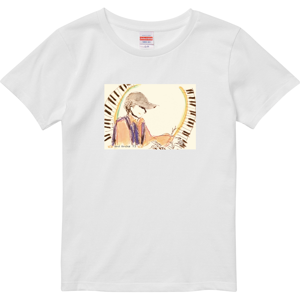 「躍動するピアノ」レディース・Bタイプ ハイクオリティーTシャツ(ガールズ)