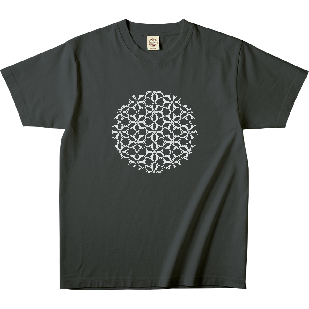 フラワーオブライフ デザインTシャッツ 4 両面にデザインプリント オーガニックコットンTシャツ