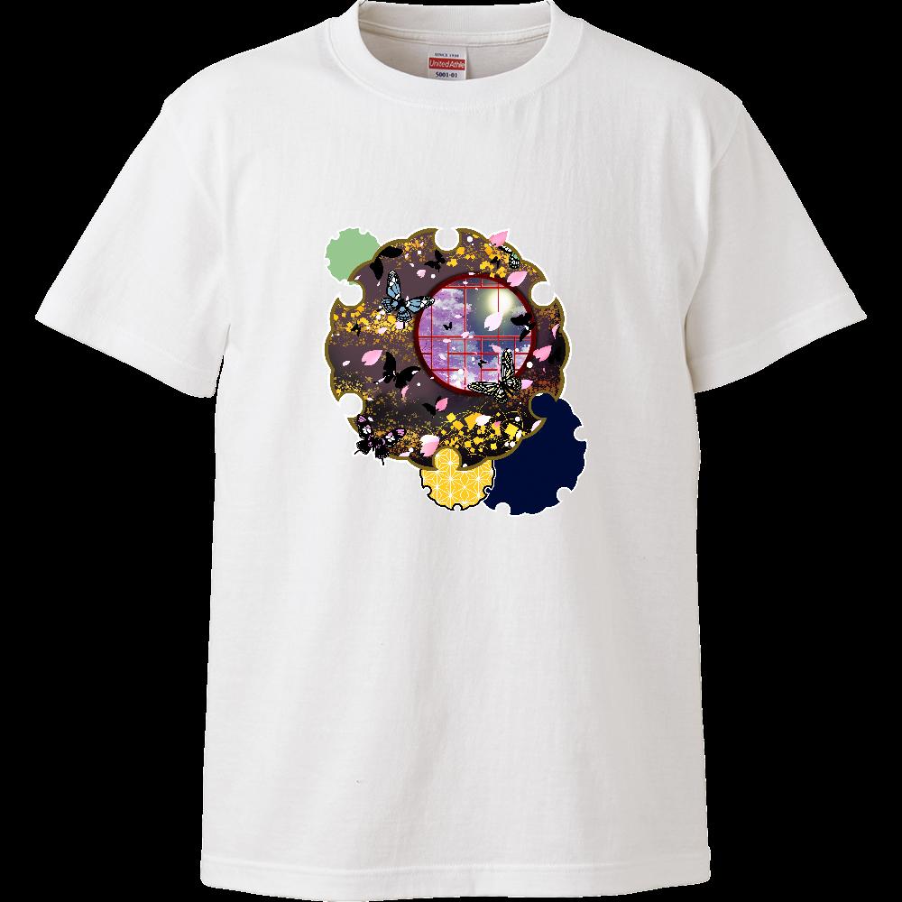 雪輪に夜桜蝶 ハイクオリティーTシャツ