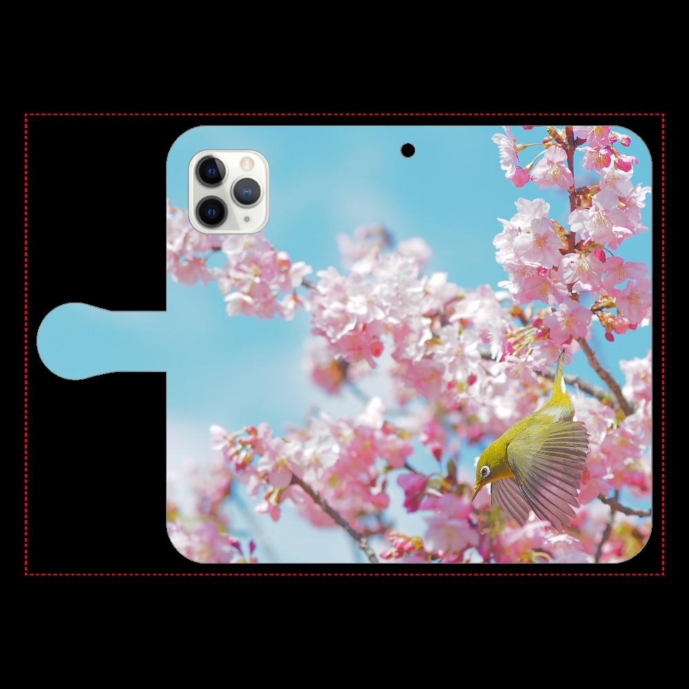 メジロと桜 iPhone11 Pro 手帳型スマホケース