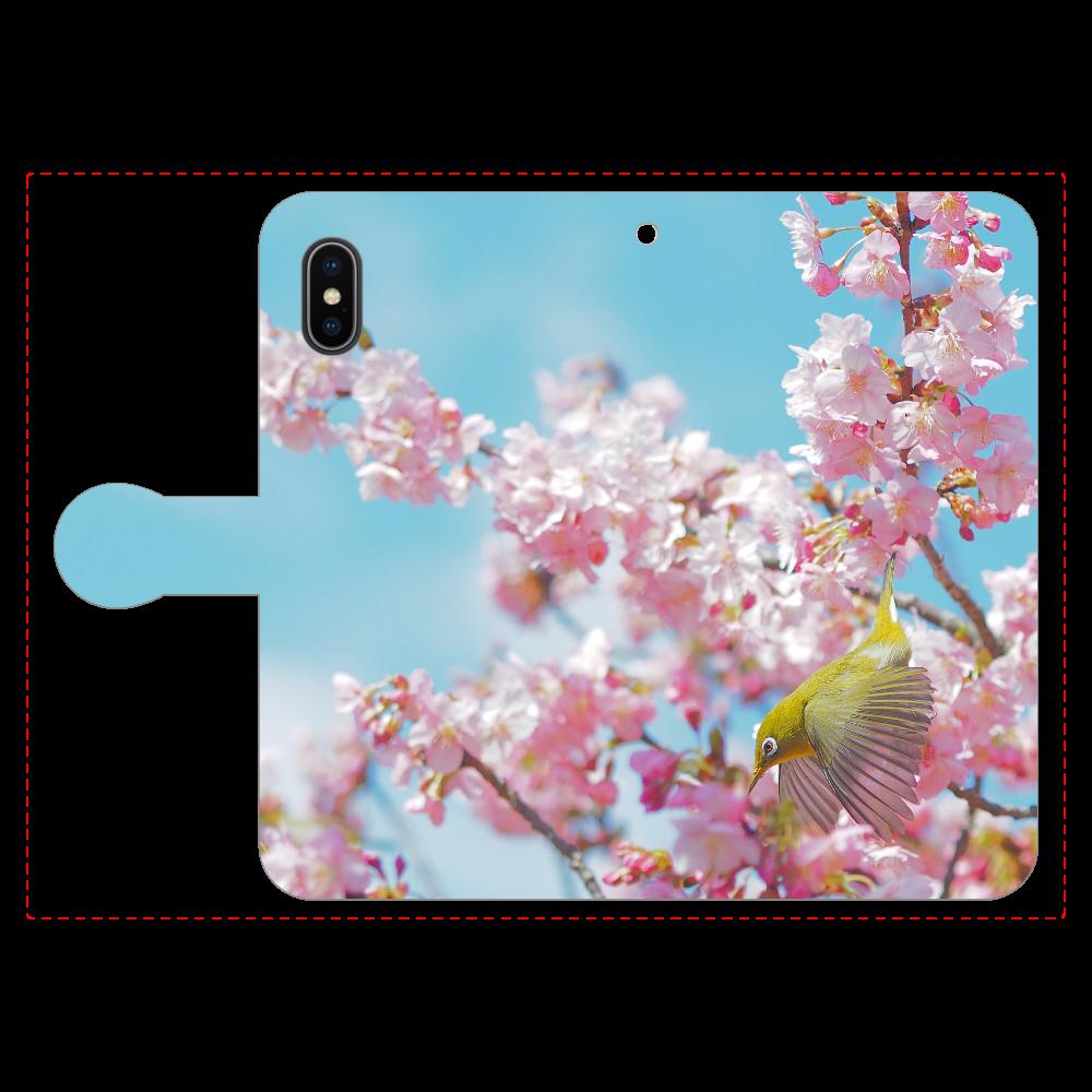 メジロと桜 iPhoneX/Xs 手帳型スマホケース