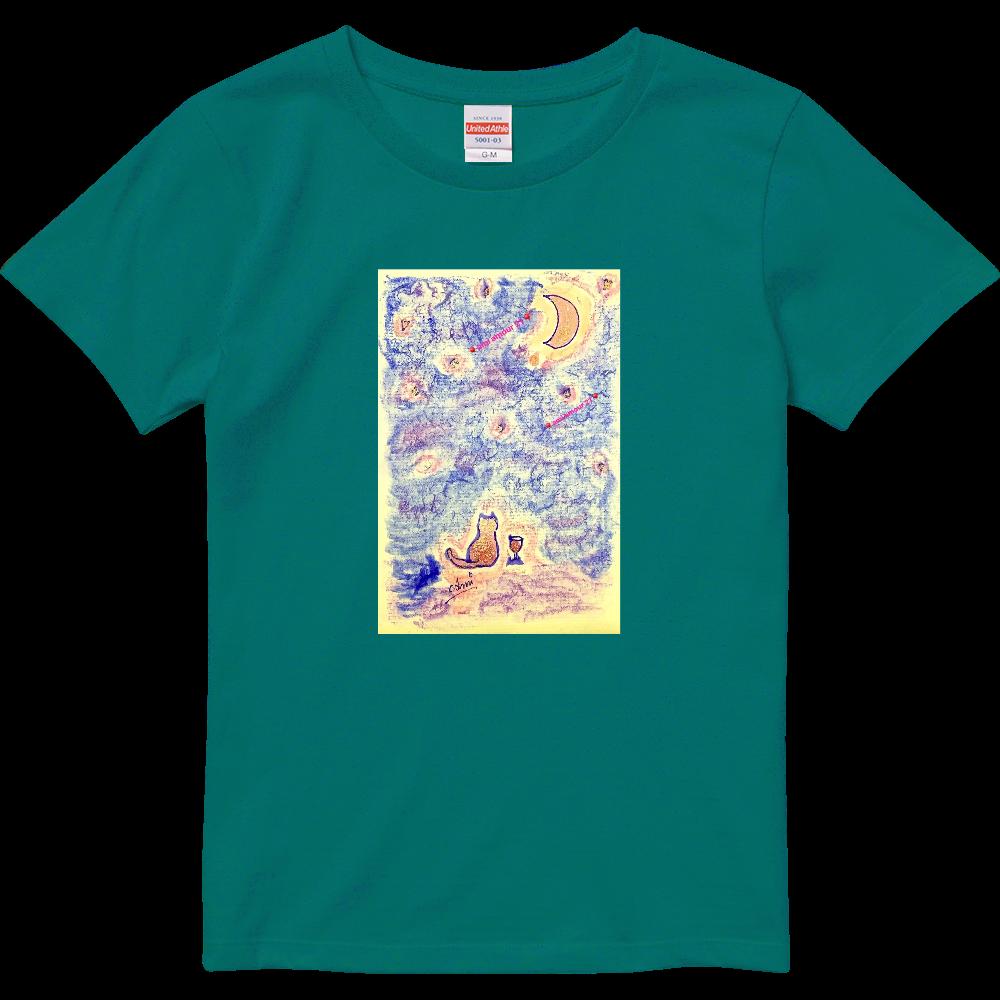「ピンク流星群(マニキュア&水彩パステル)」レディースBタイプ ハイクオリティーTシャツ(ガールズ)