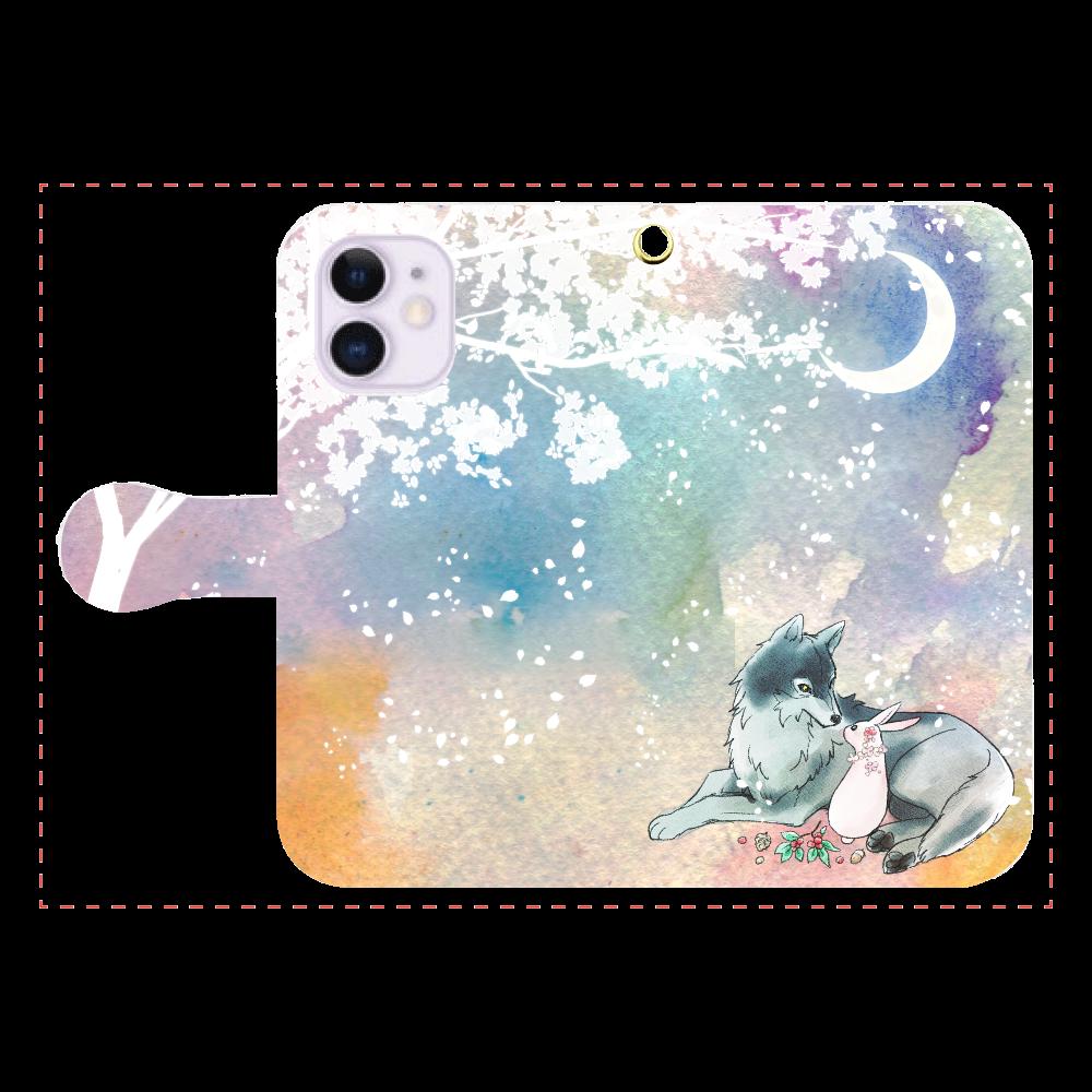 狼とうさぎ iPhone12mini 手帳型スマホケース