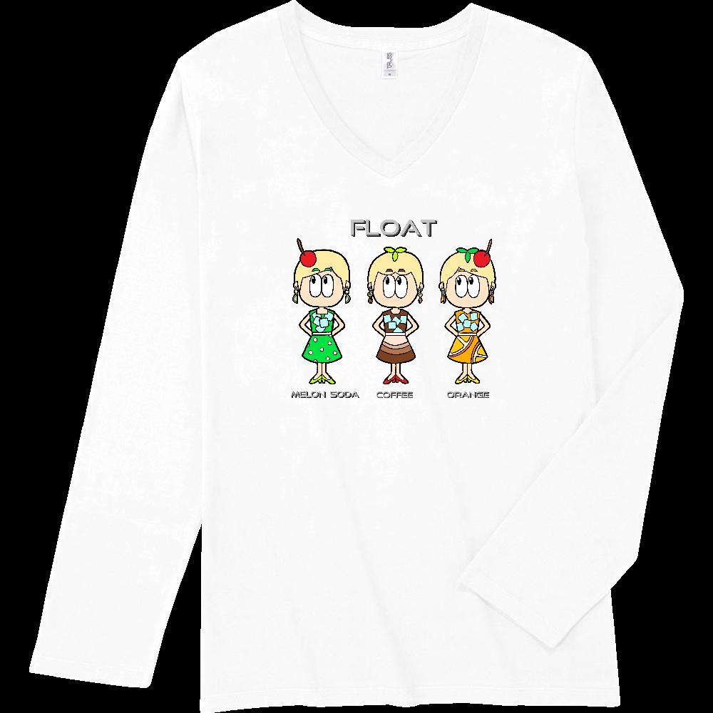 ドリンク/昭和レトロファッション スリムフィット VネックロングスリーブTシャツ