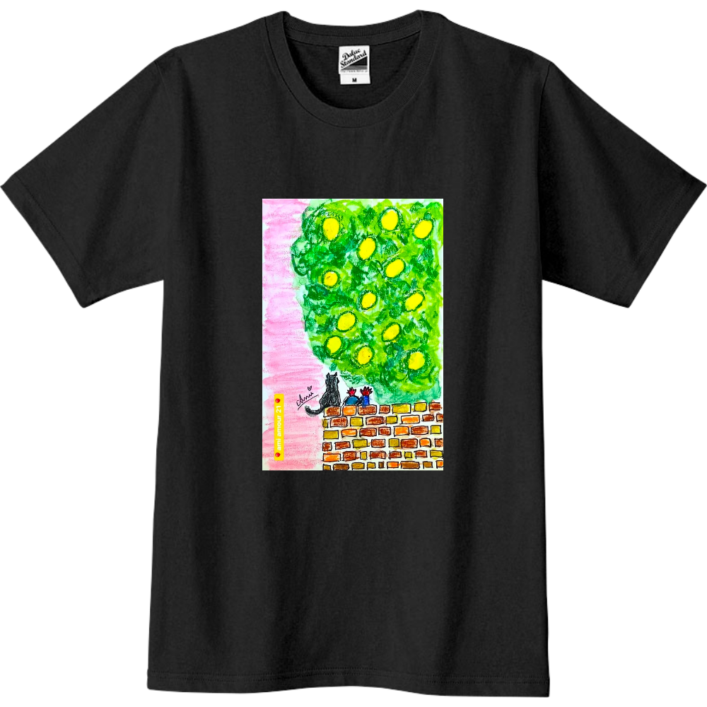 「黄色い果実と傍観するしっぽ」 スリムTシャツ