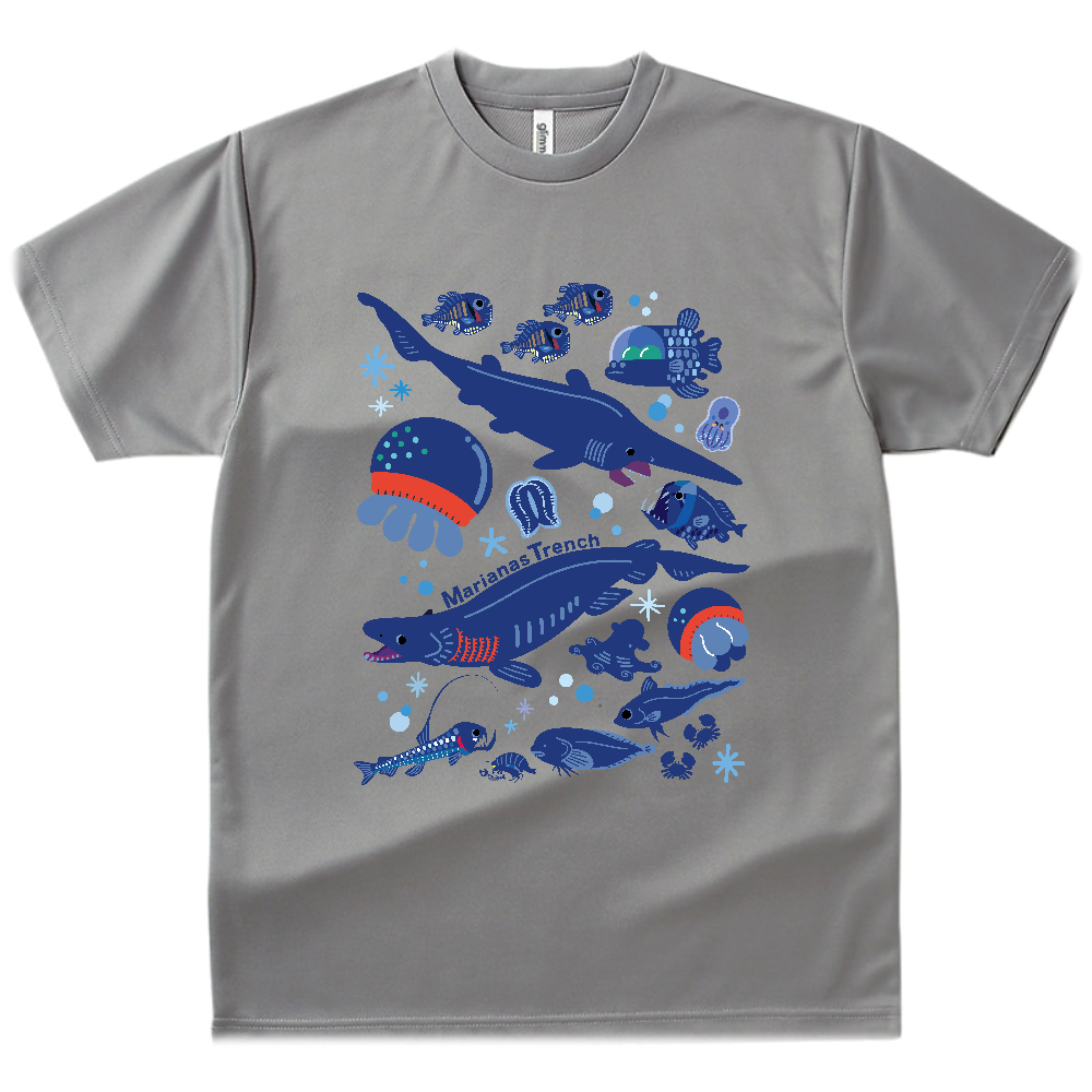マリアナ海溝の深海生物 ドライTシャツ