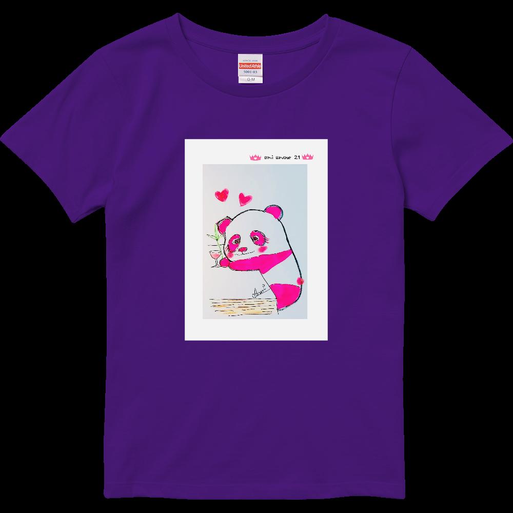 「酔っパンダ・A」レディースBタイプ ハイクオリティーTシャツ(ガールズ)
